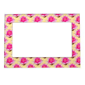 Pink Water Lilies Yellow Magnetic Frame