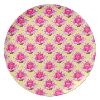 Pink Water Lilies Yellow Pattern Plate