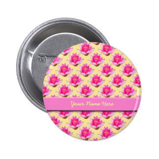 Pink Water Lilies Yellow Pinback Button