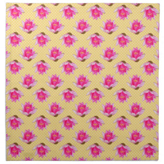 Pink Water Lilies Yellow Polka Dots Napkin