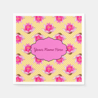 Pink Water Lilies Yellow Polka Dots Paper Napkin