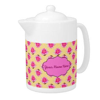 Pink Water Lilies Yellow Polka Dots Teapot