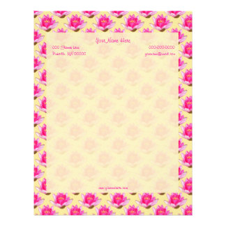 Pink Water Lilies Yellow Straight Border Letterhead