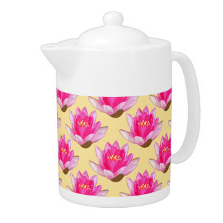 Pink Water Lilies Yellow Teapot