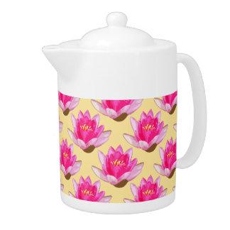 Pink Water Lilies Yellow Teapot