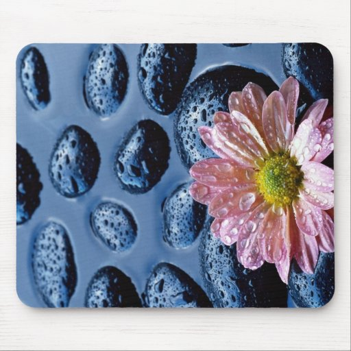 Pink water lily against blue stones mouse pad
