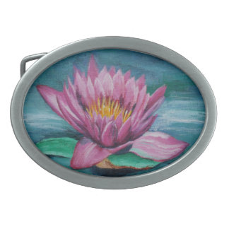 Pink Water Lily Belt Buckle