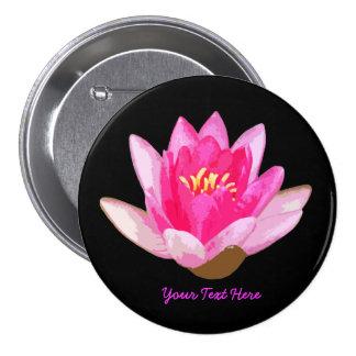 Pink Water lily Black Pinback Button