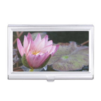 Pink Water Lily Business Card Holder