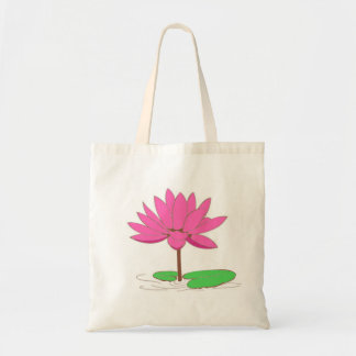 Pink Water Lily Canvas Bags