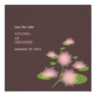 Pink Water Lily Contemporary Save The Date Wedding 5.25x5.25 Square Paper Invitation Card
