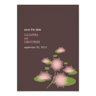 """Pink Water Lily Contemporary Save The Date Wedding 5"""" X 7"""" Invitation Card"""