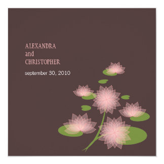 """Pink Water Lily Elegant Simple Contemporary Weddin 5.25"""" Square Invitation Card"""