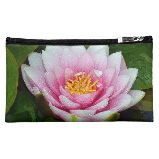 Pink water lily floral print makeup bag