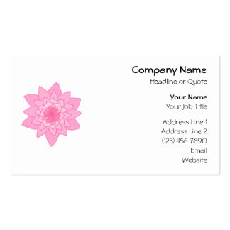 Pink Water Lily Flower. Business Card