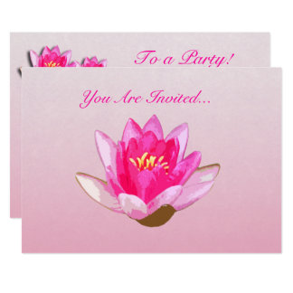 Pink Water Lily Flower Card
