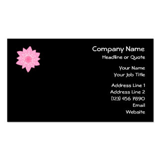 Pink Water Lily Flower on a Black Background. Business Card