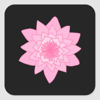 Pink Water Lily Flower on a Black Background. Sticker