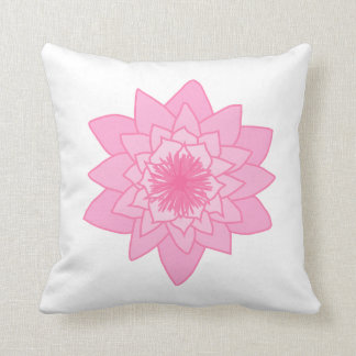 Pink Water Lily Flower. Throw Pillows