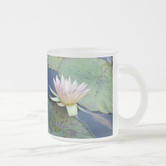 Pink Water Lily Frosted Glass Coffee Mug