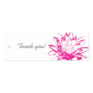 Pink Water Lily Gift Tags Double-Sided Mini Business Cards (Pack Of 20)