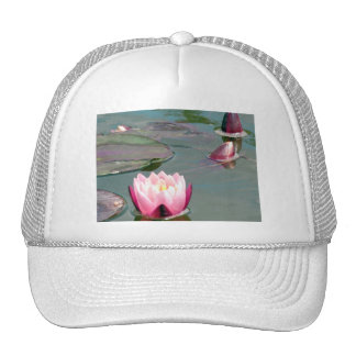 Pink water lily trucker hats