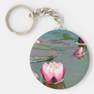 Pink water lily key chain
