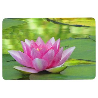 Pink Water Lily Lotus Flower on Green Floor Mat