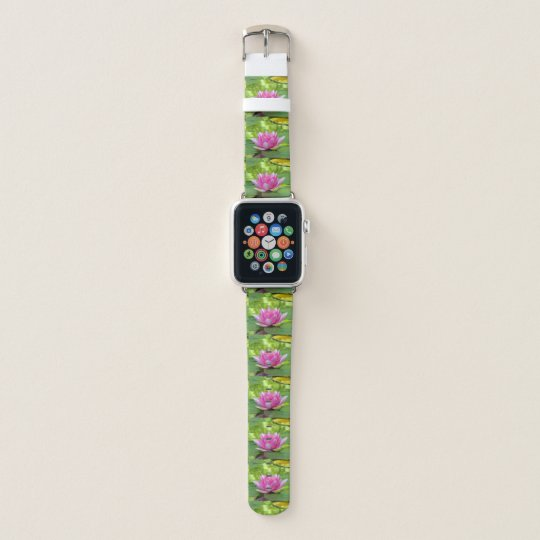 Pink water lily lotus flower on green lily pad apple watch band pink water lily lotus flower on green lily pad apple watch band mightylinksfo