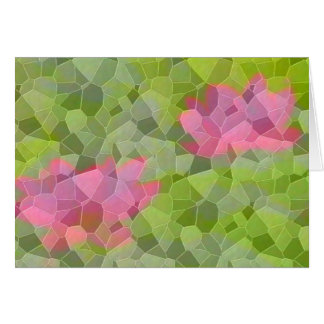 Pink water lily mosaic card