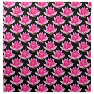Pink Water Lily on Black Napkin