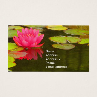 Pink Water Lily on Pond Customizable Business Card