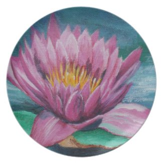 Pink Water Lily Plate fuji_plate