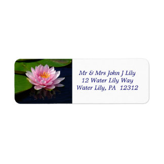 Pink Water Lily Return Address Label