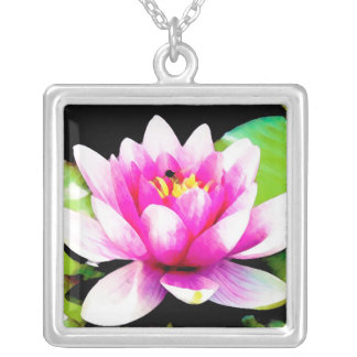 Pink water lily silver plated necklace