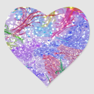 Pink Watercolor Abstract Glitter Photo Print Heart Sticker
