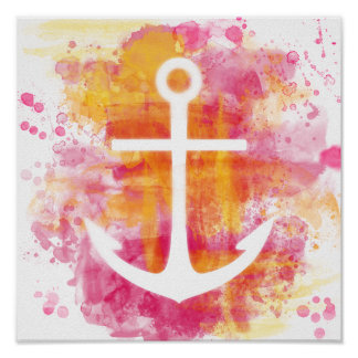 Pink watercolor anchor poster