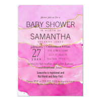 Pink Watercolor and Gold Baby Shower Invitations