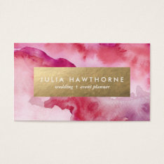 Pink Watercolor And Gold Faux Foil Business Card at Zazzle