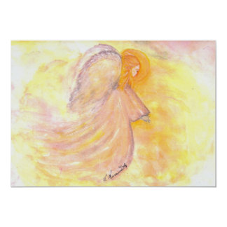 Pink Watercolor Angel 5x7 Paper Invitation Card