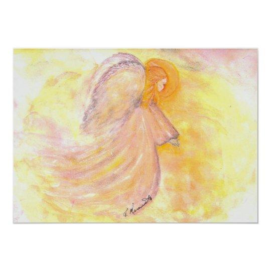 Pink Watercolor Angel Card