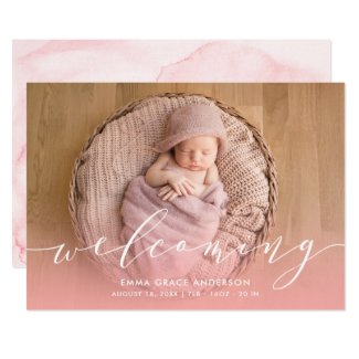 Pink Watercolor Baby Girl Birth Announcements