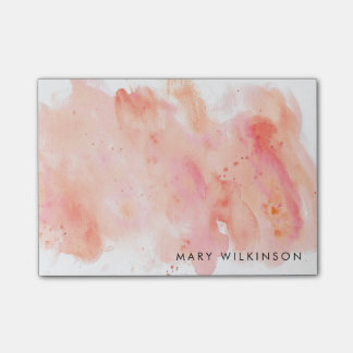 Pink Watercolor Background Post-it Notes