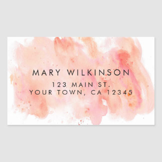 Pink Watercolor Background Rectangular Sticker