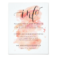 Pink Watercolor Background Wedding Guest Info Card