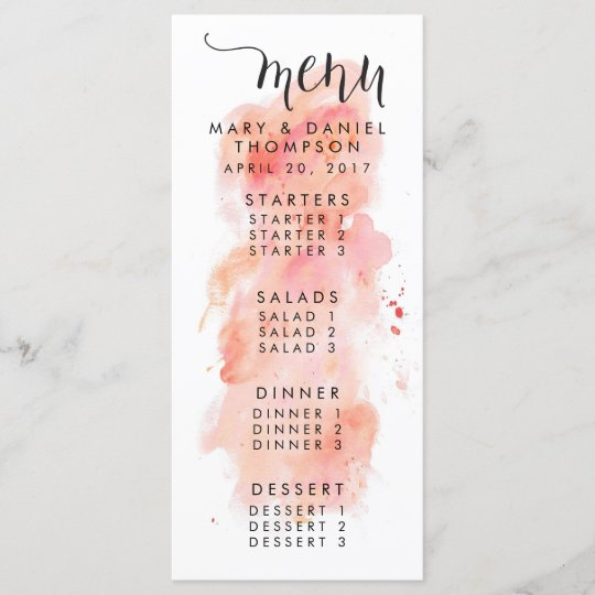 Pink Watercolor Background Wedding Menu
