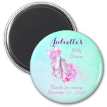Pink Watercolor Ballet Shoes Baby Shower Thank You 2 Inch Round Magnet
