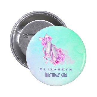 Pink Watercolor Ballet Shoes Birthday Girl Pinback Button