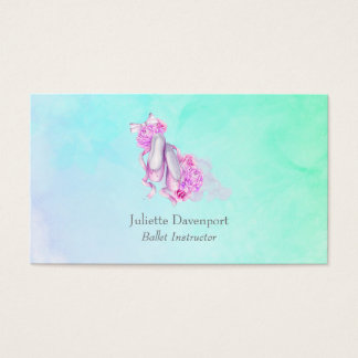 Pink Watercolor Ballet Shoes with Peonies and Bow Business Card