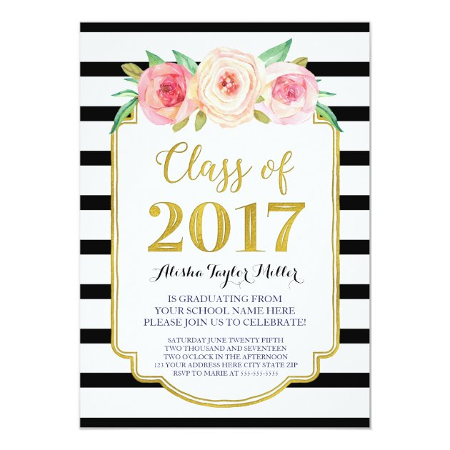 Pink Watercolor Black Stripe Gold Graduation Party Card